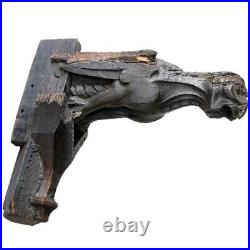 Antique English Gothic Period Oak Architectural Gargoyle Bracket 16th century