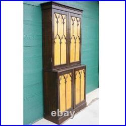 Antique English Gothic Revival Oak & Satinwood Stepback Cabinet 19th century