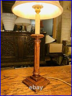 Antique English Oak Carved Table Lamp, Elizabethan Style Candlestick Lamp