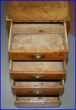 Antique English Oak Circa 1890 Military Campaign Chest Of Drawers Lovely Size