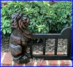 Antique English Oak Fireplace Fender Hearth Surround LIONS Gothic Early 19th C