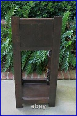 Antique English Oak GOTHIC Umbrella Cane Stick Stand Hall Tree Entry Foyer Stand