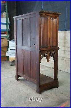 Antique English Oak Gothic Revival Altar Cabinet Court Cupboard Secretary Desk