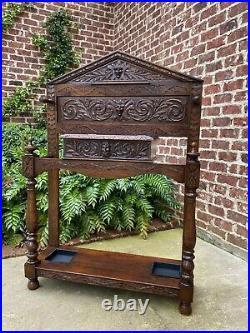 Antique English Oak Umbrella Hall Tree Entry Foyer Cane Stick Stand GOTHIC Large