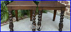 Antique English PAIR Chairs BARLEY TWIST Carved Shields GOTHIC Oak 19th C