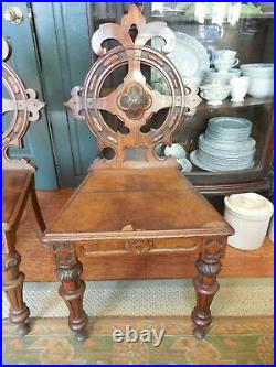 Antique English Victorian 2 Gothic Style Carved Oak Hall Chairs PRICE REDUCED