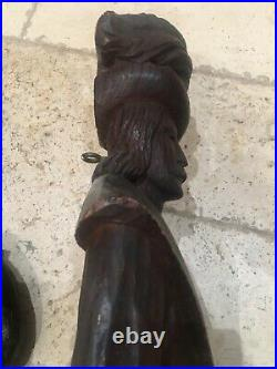 Antique European Oak Wood Carved Lg Pair Medieval Men Renaisance Style Wall Art
