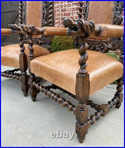 Antique French Arm Chairs BARLEY TWIST Leather Oak Throne Fireside Chairs PAIR