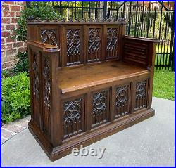 Antique French Bench Settee Banquette GOTHIC REVIVAL Entry Foyer Oak Petite 19C