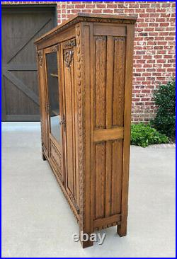 Antique French Bookcase Display Cabinet Vitrine Gothic Revival Oak 3 Doors 1930s