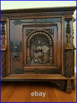 Antique French Buffet Sideboard Medieval Style Oak Two Door
