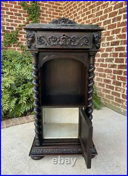 Antique French Cabinet Marble Top Renaissance Gothic Revival Barley Twist 19th C