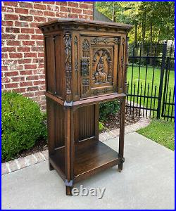 Antique French Cabinet Vestry Altar Wine Bar Sacristy Cabinet Gothic Oak Small