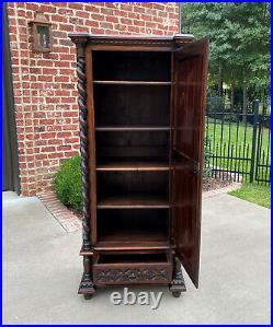 Antique French Cabinet Wardrobe Armoire Bonnetiere Oak Gothic BARLEY TWIST