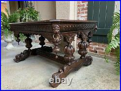 Antique French Carved Oak Dolphin Library Table Desk Renaissance Gothic