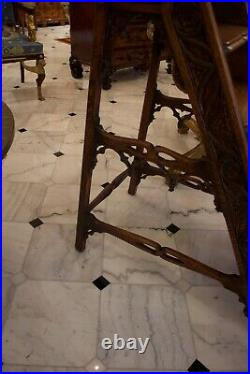 Antique French Carved Oak Gothic Library Steps Ca 1890