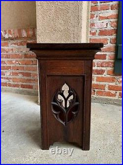 Antique French Carved Oak Gothic Plant Stand Square Display Bronze Pedestal