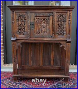 Antique French Carved Oak Gothic Sacristy Vestry Altar Wine Cabinet Bar Catholic