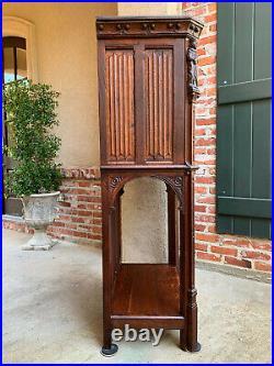 Antique French Carved Oak Gothic Vestry Sacristy Altar Wine Cabinet Bar Catholic