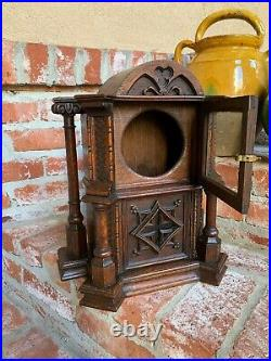 Antique French Carved Oak Monstrance Reliquary Box Liturgical Gothic Case Glass