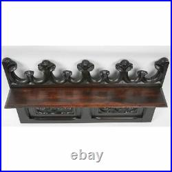 Antique French Carved Oak Neo-Gothic Architectural Salvaged Wall Shelf Panel