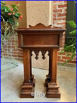 Antique French Carved Oak Podium Table Top Lectern Gothic Liturgical Bible Box
