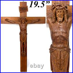 Antique French Carved Oak Religious Sculpture, Medieval Style Christ Corpus, 19