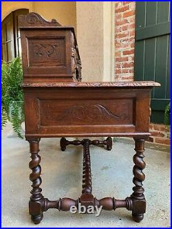 Antique French Carved Oak Renaissance Desk Barley Twist Gothic Library 19th c