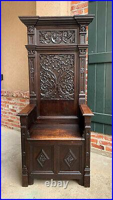 Antique French Carved Oak Renaissance King THRONE Chair BENCH Gothic Dolphin
