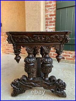 Antique French Carved Oak Side Table Small Writing Desk Renaissance Gothic c1880