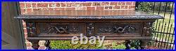 Antique French Dessert Server Sideboard Barley Twist Gothic Oak 2 Drawers