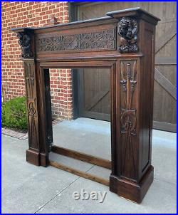 Antique French Fireplace Mantel Surround GOTHIC REVIVAL Oak LARGE 19th C