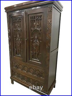 Antique French Gothic Cabinet, 1910, Oak, Medieval, Storage Cabinet