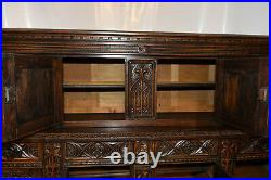 Antique French Gothic Cabinet, Great Carvings, Oak, 1920's