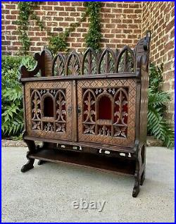 Antique French Gothic Cabinet Hanging Wall Reliquary Catholic Carved Oak 19th C