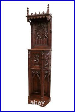 Antique French Gothic Cabinet, Narrow Model, Oak, 19th Century