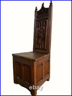 Antique French Gothic Chair/Bench, 19th Century, Oak