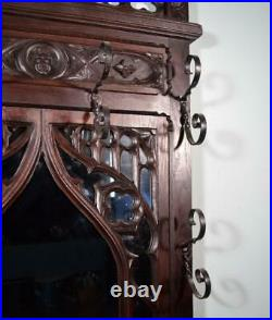 Antique French Gothic Hall Tree/Hall Stand/Coat/Hat Rack in Solid Oak