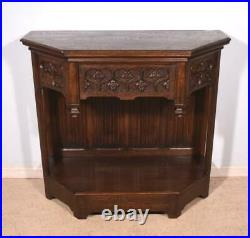 Antique French Gothic Revival Console/Sideboard/TV Stand in Oak Wood