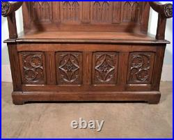 Antique French Gothic Revival Oak Wood Bench/Settee/Chair Highly Carved