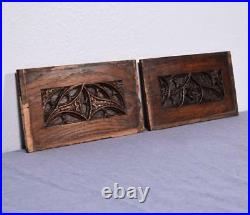 Antique French Gothic Revival Panels/Woodcarvings in Oak Wood