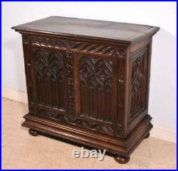 Antique French Gothic Revival Side/End Table/Cabinet/Stand in Oak
