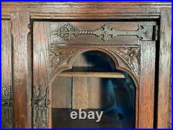 Antique French Gothic Revival Solid Oak Wall/Display Cabinet