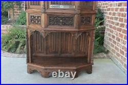 Antique French Gothic Sacristy Vestry Altar Wine Cabinet Bar Catholic Carved Oak