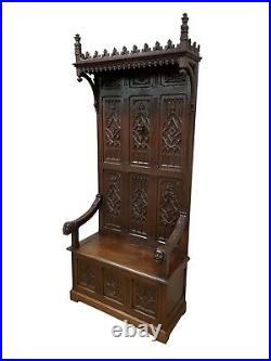 Antique French Gothic Throne Chair, Bishop Face Carvings, Oak, 19th Century