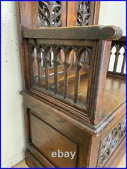 Antique French Gothic Throne Chair, Oak, 19th Century, Religious