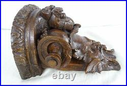 Antique French Hand Carved Oak Wood Wall Bracket /Shelf Console-Green Man 19 th