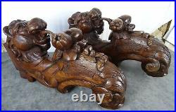 Antique French Large Carved Oak Wood Chimera / Lion Corbels Salvage 19th