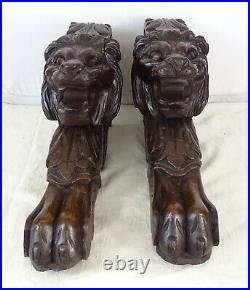 Antique French Large Carved Oak Wood Lions Corbels Salvage 19th