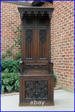 Antique French MONK'S BENCH Throne Chair Hall Seat GOTHIC Carved Oak TALL 19th C